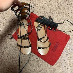Valentino Garavani Lace Up Sandals Rock Stud Blk